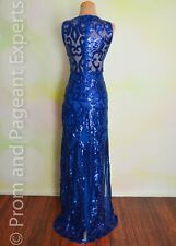 Royal Blue Sequin Evening Pageant Prom Long Evening Formal Gown Dress S 2/4