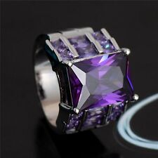 Charming Purple Square Classic Silver Popular CZ Ring  (Size:8.5)