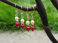 925 Sterling Silver Gold plated gemstone earrings red coral & freshwater pearl