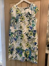 Roman Ladies Cap Sleeved White & Floral Print Dress Size 20
