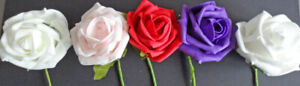 Foam Roses pack 6 - 3cm bud - 5cm open and large open
