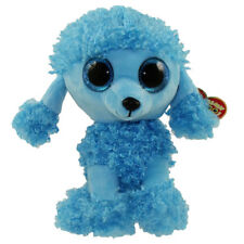 "Ty Beanie Boos 6"" Mandy the Blue Poddle Dog Stuffed Animal Plush w/ Heart Tags"
