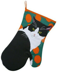 Black & White Cat Gauntlet Oven Gloves Mitts Orange Green Pot Holder Glove