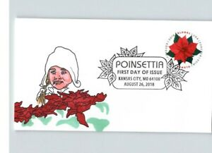 NEW! Hand Painted POINSETTIA Flowers, Round stamp, # 1 of 1 made, FDC