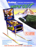 WIPE OUT Pinball Machine Flyer Original 1993 NOS Snowboard Sports Theme GOTTLIEB