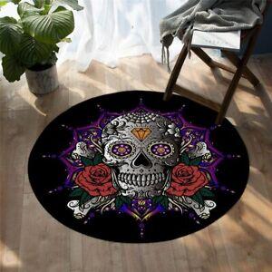 Sugar Skull Red Rose Diamond Lotus Round Rug Carpet Mat Living Room Bedroom