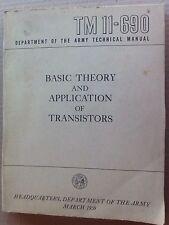 VINTAGE BASIC THEORY & APPLICATION OF TRANSISTORS 1959...ARMY TM-11-690