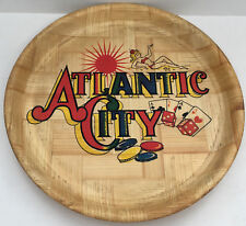 vintage Atlantic city travel souvenir bamboo serving tray with bold graphics