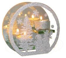 """Teelichthalter oval 2 Teelichter aus Glas Motiv """"Schneemann"""", 160x150 mm"""