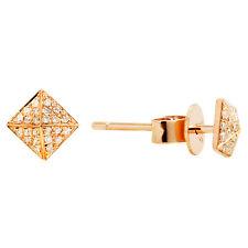 14K ROSE GOLD PAVE DIAMOND PYRAMID SPIKE SQUARE STUD STUDS EARRINGS