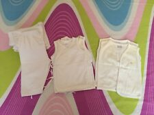 LOT OF 11 PCS BABY CLOTHING WHITE SANDOS & PAJAMAS