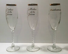 Wedding Toast Glassware Bridesmaids Mother Father Groom Couples Champagne Flute