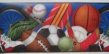 "SPORTS FOOTBALL BASEBALL BASKETBALL Wallpaper Border 10 1/4"""