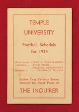 Antique 1934 Temple University Football Pocket Schedule Early 1930s Philadelphia