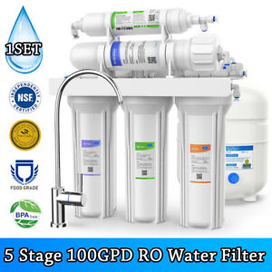 5 Stage Reverse Osmosis Drinking Water Filter RO System Home Purifier 100GPD