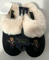Polo Ralph Lauren Women's SZ 5 Holiday Bear Black Faux Shearling Fur Slipper