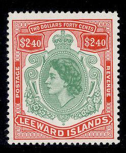 LEEWARD ISLANDS QEII SG139, $2.40 bluish green and red, M MINT. Cat £15.