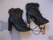 Elegante Stiefeletten schwarz Kunstleder mit Fellbesatz 8,5 cm Absatz Gr.38 high