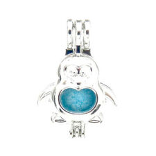 5pcs/lot Bright Silver Penguin Locket Pendant Pearl Cage Beads Floating L599