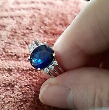 Vintage Style Oval Cut Blue & White Stone  Silver Ring size L