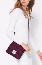 NEW MICHAEL KORS SLOAN PLUM SWING PACK QUILT LEATHER CROSSBODY BAG