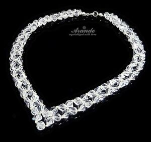NEW ORIGINAL CRYSTALS WEDDING NECKLACE *CRYSTAL HELIX* STERLING SILVER