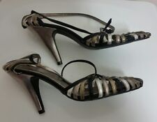 FIORE Sandals Sz 5 UK 38 Patent Leather Wrap Around Ankle Straps Black High Heel