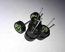 1:64 Scale Rim/Tyre Set - 5 Spoke Star Pattern - Green