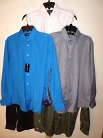 NEW NICOLE MILLER Mens Dress Shirt Long Sleeve Black Blue White Gray Green