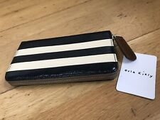 Orla Kiely Navy Leather Large Zip Wallet