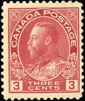 Mint H Canada F+ Scott #109 3c 1923 KGV Admiral Stamp