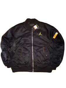 Nike Jordan Legacy 2 Lightweight Bomber Jacket Black Yellow CZ1190-010 Men Sz L