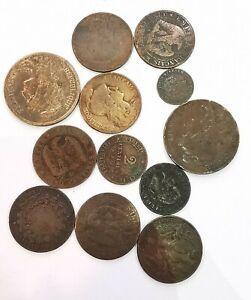 Lot 12 Pièces 1,2,5,10 Centimes France Napoléon III Ceres Dupuis. AD4586
