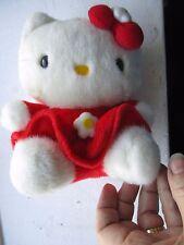 """HELLO KITTY PLUSH 6.5 """" WHITE CAT WITH RED DRESS SANRIO SMILES"""