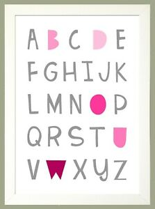 PINK & GREY ALPHABET A4 Print Nursery Wall Art Decor SOLD IN A WHITE WOOD FRAME