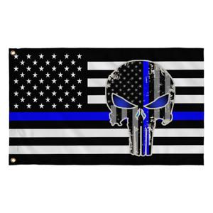 Police Punisher Skull Blue Line Flag Blue Lives Matter 2X3 Flag Rough Tex® 100D