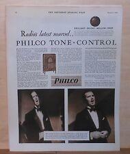 1930 magazine ad for Philco radio - Tone Control, John Barclay baritone