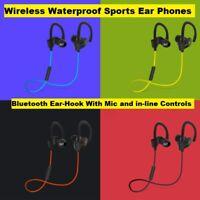 D-37 Brand New Waterproof Sports Bluetooth Ear-Hook Headphones With Controls