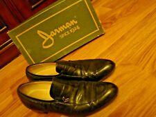 Vintage 1980'S Jarman'S Men Black Leather Slip On Shoes Gold Accent Dress Dance