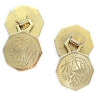 ANTIQUE Art DECO Gold Tone Double Panel CUFFLINKS Floral Engine Turned MJ Co