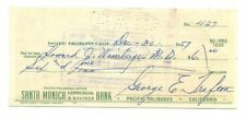 George Trafton Signed Bank Check Autographed Bears 12/30/1957 45893