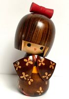 VINTAGE JAPANESE KOKESHI DOLL WOODEN HANDCRAFTED HAND PAINTED SIGNED COLLECTIBLE
