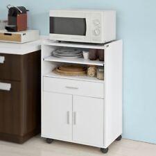 SoBuy® Küchenschrank, Küchenwagen, Rollschrank, Mikrowellenschrank,weiß, FSB09-W
