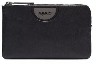 MIMCO Black Pouch Echo Leather Wallet Bag Purse BNWT Gunmetal Hardware Dust Bag