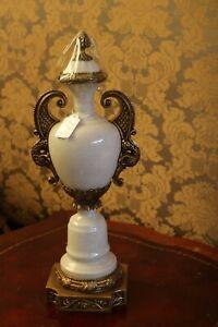 Antique RARE Porcelain Brass Crackle Vase Urn with Lid  Signed
