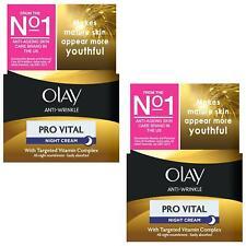 2 Olay Anti-Wrinkle Night Cream Pro Vital AntiAgeing Moisturiser MatureSkin 50ml