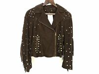 ZARA BROWN SUEDE LEATHER BIKER JACKET SIZE SMALL REF 4720 023 NEW RRP £179