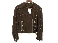 Zara Brown Suede Leather Biker Jacket Size Small Ref 4720 023