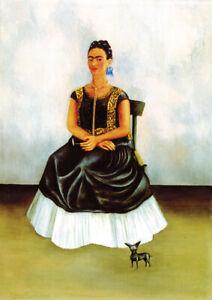 Frida Kahlo - Self-portrait with a dog - A4 size 21x29.7cm Canvas Print Unframed