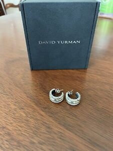 David Yurman Cable Collectibles Sterling Silver Hoop Earrings with 14K Gold